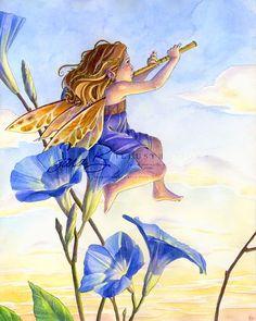 Fairy Art Print - Flower Fairy Playing Flute - Music Sunrise Morning Glories