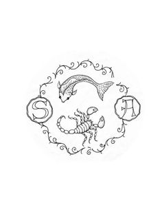 Design sketch for tatoo design. Pisces & Scorpio with initial & vine border.      Check out this Great website on Tattoos--  http://tattoo-7yh1q9wd.myreputablereviews.com