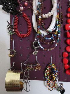 Another detail shot of Annelise's jewelry pegboard. Woman Bedroom, Bedroom Storage, Detail, Storage Solutions, Jewelry, Ideas, Jewlery, Shed Storage Solutions, Jewerly