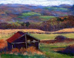 Nunda autumn day, 12X9, pastel, by Carol L. Douglas. New York is a beautiful state.