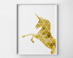 Geometric Unicorn Print, Unicorn Art, Unicorn Silhouette, Unicorn Poster, Gold…