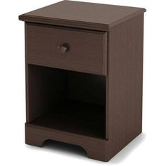 Brown 1-Drawer Nightstand With Cabinet Night Stand Bedside Storage Furniture #SouthShore #Country