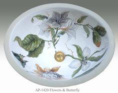Flowers & Butterflies Porcelain Sink - Flowers and Butterflies Design on Monaco Medium Oval Porcelain Sink