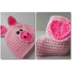 Baby Pig Beanie and Booties Set Baby by ShelleysCrochetOle ($42) found on Polyvore