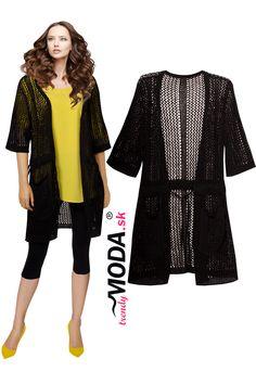 Čierny háčkovaný predĺžený dámsky sveter bez zapínania Cover Up, Jar, Dresses, Fashion, Vestidos, Moda, Fashion Styles, Dress, Fashion Illustrations