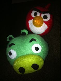 Felt Angry Bird and Pig - probably angry at my terrible stitching