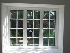Aluminium window in white with external georgian bars, viewed from the insi Front Windows, House Windows, Aluminium Windows And Doors, Inside Doors, Double Glazed Window, Window Design, Home Reno, Sliding Glass Door, The Hamptons
