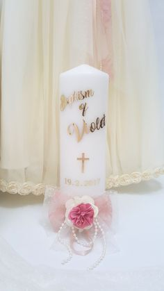 Personalised Girls Christening / Baptism gold foil, cross & flower candle.