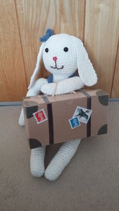 Ellie with her suitcase full of clothes ready for her travels!  #amigurumi #crochet #rabbit