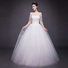 A-line+Wedding+Dress+Floor-length+Jewel+Organza+with+Beading+/+Flower+/+Sash+/+Ribbon+–+CAD+$+138.99