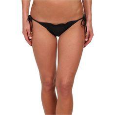 Vix Sofia by Vix Solid Black Ripple Tie Side Brazilian Bottom Women's... ($40) ❤ liked on Polyvore featuring swimwear, bikinis, bikini bottoms, black, black scalloped bikini, side tie bikini bottom, ruched bikini bottom, low rise bikini and vix bikini