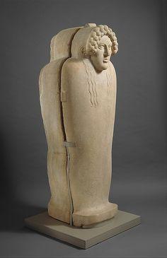 Marble anthropoid sarcophagus  Period:     Classical Date:     last quarter of the 5th century B.C. Culture:     Graeco-Phoenician Medium:     Parian marble