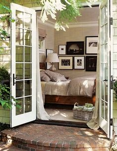 Sleeping porch with french doors! yes, please!