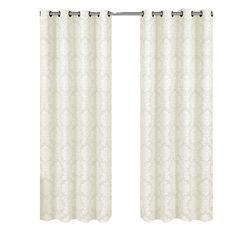 Off-White Jacquard Grommet-Top Aryanna Floral Window Curtain Panel (Set of 2) #RoyalTradition #Modern