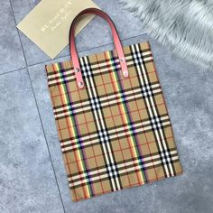 Burberry Small Shopping Tote in Rainbow Vintage Canvas and Pink Leather 2018