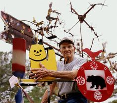 Vollis Simpson working on a whirligig. Photo by Burke Uzzle.