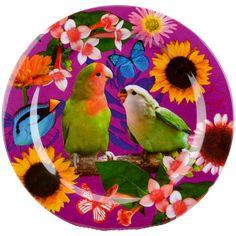 assiette+imprimé d'oiseau mél. 25cm dv.v