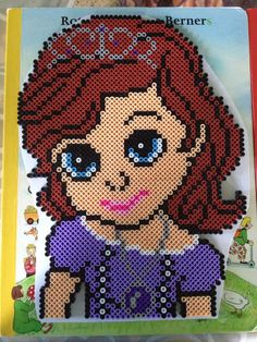 Princess Sofia the First hama perler beads by Sunrise - Pattern Fuse Bead Patterns, Perler Patterns, Loom Patterns, Craft Patterns, Beading Patterns, Diy Perler Beads, Pearler Beads, Sofia The First Cartoon, Princesa Sophia