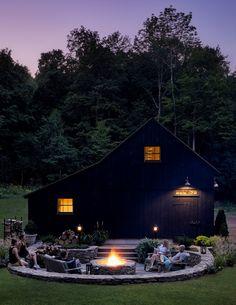 Black Shed, Black Barn, Silo House, Farm House, Garage Exterior, Barns Sheds, Pole Barns, Country Barns, Outdoor Fire