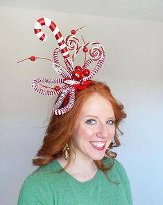 Christmas headband for adults, candy cane Christmas headdress for women, Christmas hair accessories by Tinseled Tiara! Family Christmas Outfits, Holiday Outfits Women, Christmas Hair, Christmas Costumes, Whoville Costumes, Christmas Headbands, Whoville Christmas, Christmas Sweaters For Women, Christmas Shirts