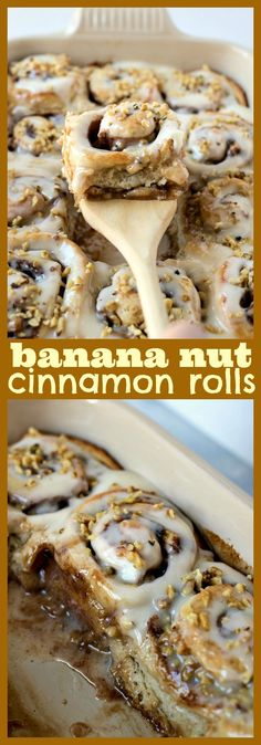 Banana Nut Cinnamon Rolls | Posted By: DebbieNet.com
