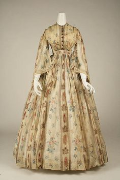 Dress Date: 1856 Culture: American Medium: cotton Dimensions: Length at CB: 62 in. cm) Credit Line: Gift of Mrs. William R. Witherell, 1953 Accession Number: Not on view 1850s Fashion, Victorian Fashion, Vintage Fashion, Antique Clothing, Historical Clothing, Vintage Gowns, Vintage Outfits, Civil War Fashion, Civil War Dress