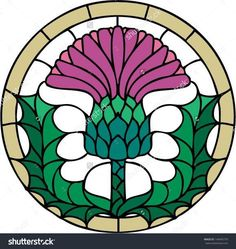 Vector Images, Illustrations and Cliparts: The thistle, the floral emblem of Scotland, vector illustration in stained glass window style, symmetric composition Celtic Stained Glass, Stained Glass Flowers, Stained Glass Patterns, Stained Glass Art, Stained Glass Windows, Mosaic Glass, Flower Symbol, Thistle Flower, Stained Glass Suncatchers