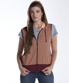 Take a look at this Merlot & Cantaloupe Mt. Hood French Terry Vest by lur® on #zulily today!