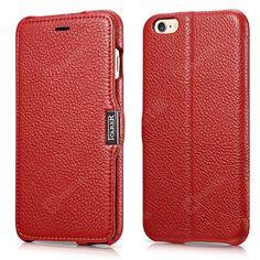 Etui, pokrowce, futerały Etui ICARER   Skórzany pokrowiec iCarer do iPhone 6 Plus 5.5 czerwony   EKLIK - Sklep GSM, Akcesoria na tablet i telefon
