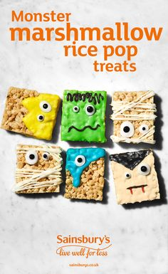 Make monster rice pop Halloween treats with rice pops, marshmallows and white chocolate. Get the kids to create their own monsters with spooky icing and hand them out to hungry trick or treaters
