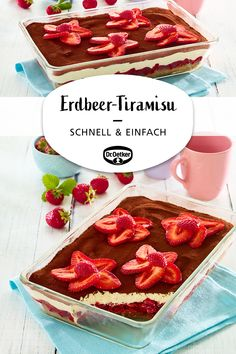 Schnelles Erdbeer-Tiramisu Quick strawberry tiramisu: The dessert classic tiramisu quickly prepared with fresh strawberries and ladyfingers Quick Easy Desserts, Desserts For A Crowd, Fancy Desserts, Easy Meals, Quick Recipes, Tiramisu Dessert, Dessert Cake Recipes, Healthy Breakfast Recipes, Healthy Desserts