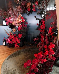 Red and black floral backdrop inspiration Wedding Backdrop Design, Wedding Stage Design, Wedding Themes, Wedding Events, Floral Backdrop, Weddings, Red Wedding, Floral Wedding, Wedding Flowers
