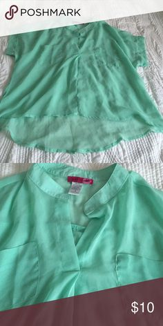 Mint green tunic Flowy mint green tunic with two pockets and cute v-neck Body Central Tops Tunics