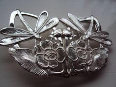 Art Nouveau Style Solid Sterling Silver Dragonfly Water Lilies Ladies Belt Buckle & Necklace and includes Belt. $249.95, via Etsy.