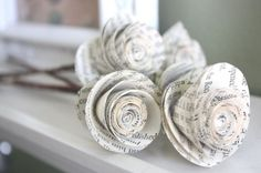 paper roses. repurposed book. small. set of 5 by dragonflies
