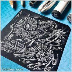 Learn to shade Zentangle® over black tile with Eni Oken's Glow on Dark technique • enioken