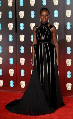 Lupita Nyong'o in ELIE SAAB Haute Couture at the British Academy Film Awards in London.