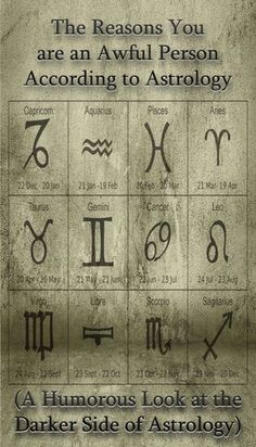 A humorous look at the dark side of Astrology and the negative traits of the Zodiac This is a PARODY - meaning humor - dark humor :) Enjoy it and lighten up a bit ;).