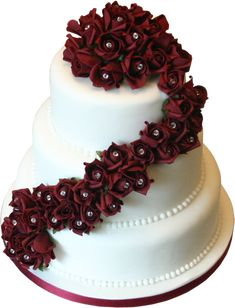 3 Tier Burgandy Rose Wedding Cake