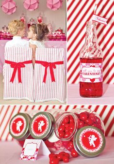 Adorable Valentines themed party decor complete with hearts, red and white stripes, and festive red soda in a glass with a decorative straw to top it off.