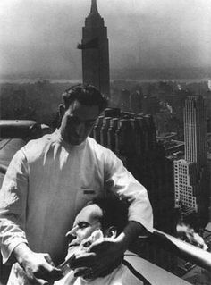 Sergei Eisenstein (Battleship Potemkin) Getting A Shave On The Eagle's Nest (61st. Floor) Of The Chrysler Building, 1930.