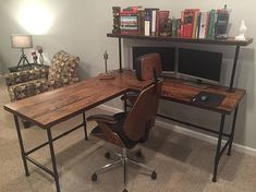 Rustic Reclaimed Barn Wood L Desk Table - Solid Oak W/ 28 Black Iron Pipe legs. This unique item was created using salvaged Oak from an old Kentucky barn. The house on the farm was built in the late 1800s and the barn was standing when the current owners purchased the land over 50 years ago. This L Desk is made from thick solid oak boards straight out of that barn. The age is apparent in every single inch of this item. I went to great care to make sure the original, unique character s...