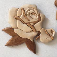Aspen Wood Intarsia Plaque, Handmade, one of a kind by WoodFiberandGemArts on Etsy