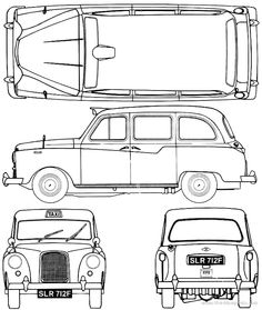 Austin FX4 London Taxi Lowrider Drawings, Car Drawings, Cars Coloring Pages, Blue Prints, Print And Cut, Design Templates, Old Cars, Cars And Motorcycles, Drawing Ideas