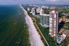 Aerial view of the ocean front in Naples.