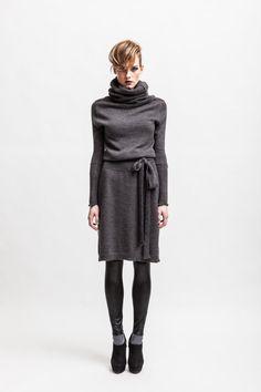 Grey alpaca wool blend turtleneck dress