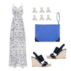 Blue Silk Charlotte Dress, Varley, $380 Navy Wedges, Balenciaga, $635 Pearl Hair Pins, ASOS, $12 Carved Blue Leather Clutch, McQ Alexander McQueen, $285. What To Wear To A Spring Wedding | The Zoe Report