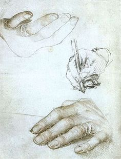 Holbein's studies of Erasmus's hands, in silverpoint and chalks, ca. 1523