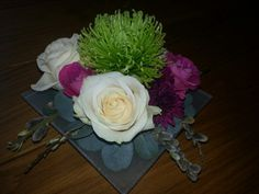 Green, pink & cream flowers with Eucalyptus & Pussy Willow