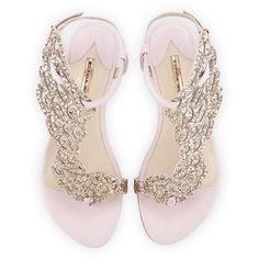 Sophia Webster Seraphina Angel-Wing Flat Sandal ($500) ❤ liked on Polyvore featuring shoes, sandals, flats, heels, pink glitter, ankle strap sandals, embellished sandals, embellished flat sandals, open toe flats and ankle wrap sandals